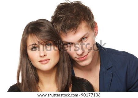 Portrait of a beautiful young couple - isolated on white background - stock photo
