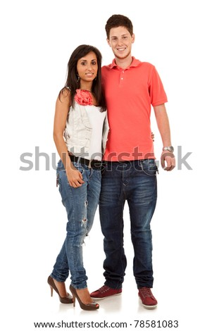 Portrait of a beautiful young couple. Shot in a studio. - stock photo