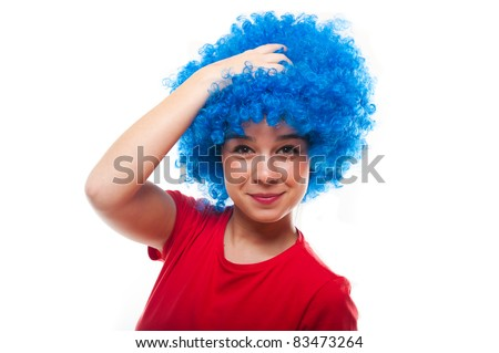 Portrait of a beautiful young female wearing blue curly wig - stock photo