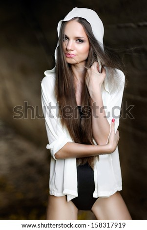 portrait of a beautiful young girl - stock photo