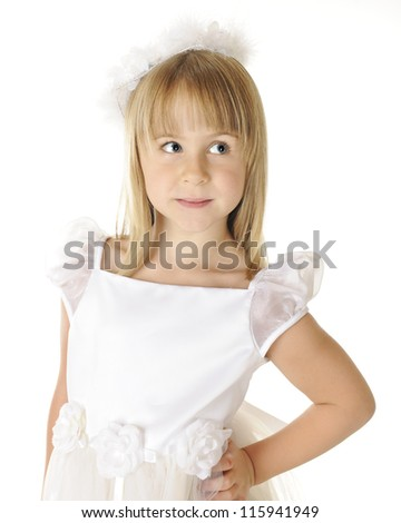 Portrait of a beautiful young girl dressed on in white.  On a white background. - stock photo