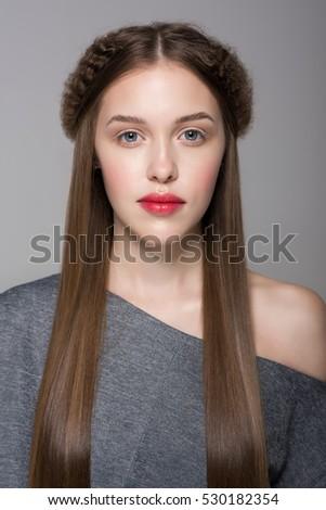 Silky hair nude girl