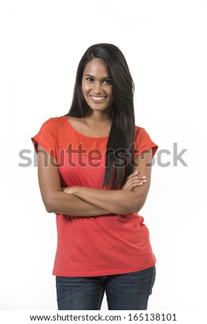 Portrait of a beautiful young Indian woman. Isolated on a white background - stock photo