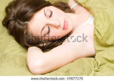 Portrait of a beautiful young lady sleeping