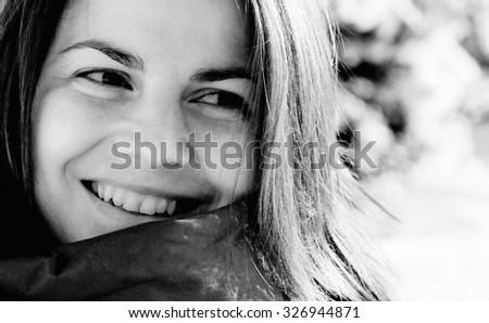 Portrait of a beautiful young lady smiling