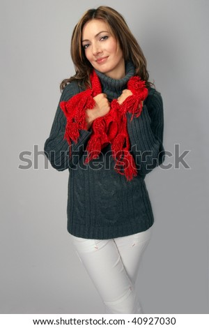 Portrait of a beautiful  young lady with a scarf.
