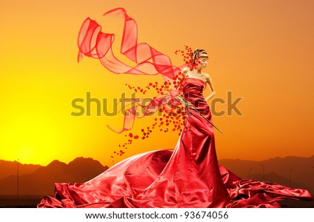 Portrait of a beautiful young luxury woman - stock photo