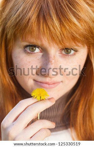 portrait of a beautiful young redhead teenager woman - stock photo