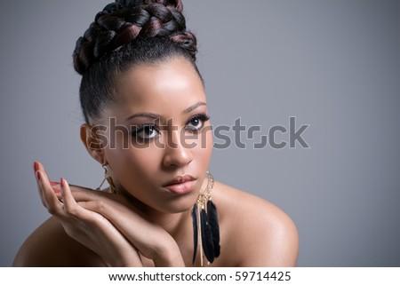 Portrait of a beautiful young sensual woman - stock photo