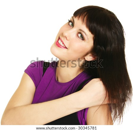 Portrait of a beautiful young teenager with brown hair - stock photo