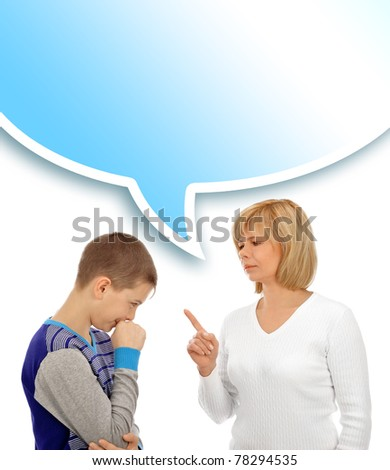 Portrait of a beautiful young woman and her son having conversation against white background - stock photo