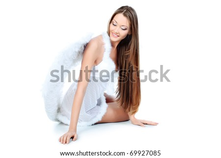 Portrait of a beautiful young woman angel, isolated over white background. - stock photo