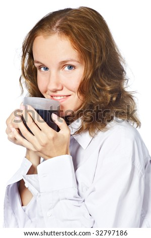 Portrait of a beautiful young woman drinking coffee - stock photo