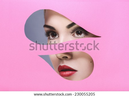 Portrait of a beautiful young woman - fashion makeup - stock photo