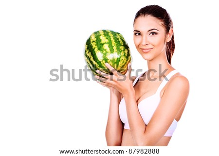 Portrait of a beautiful young woman fresh watermelon. Isolated over white background.