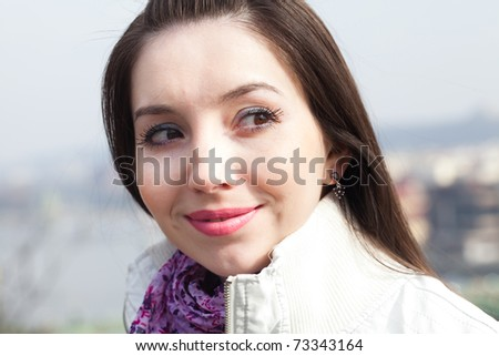 portrait of a beautiful young woman in Prague - stock photo