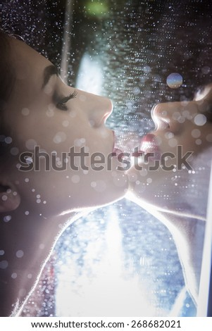 portrait of a beautiful young woman in the mirror - stock photo