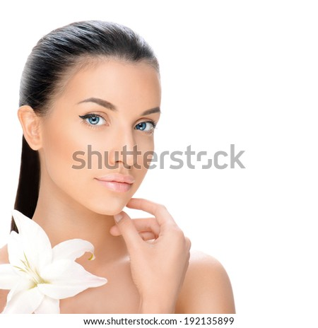 portrait of a beautiful young woman isolated on white background, beauty concept  - stock photo