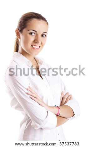 Portrait of a beautiful young woman isolated over white background