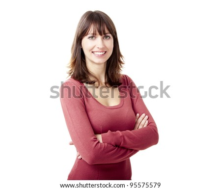 Portrait of a beautiful young woman looking at the camera and smiling, isolated on a white background - stock photo