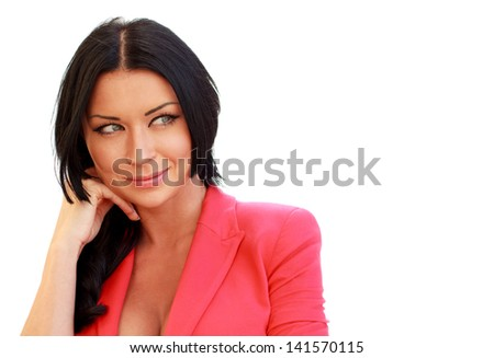 Portrait of a beautiful young woman looking happy against white background