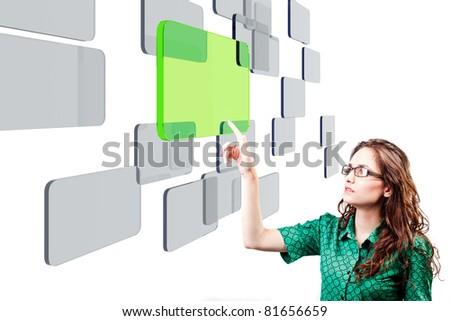 portrait of a beautiful young woman making a decision - stock photo