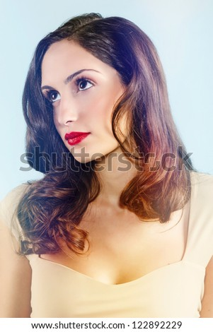 Portrait of a beautiful young woman, nice retro style.