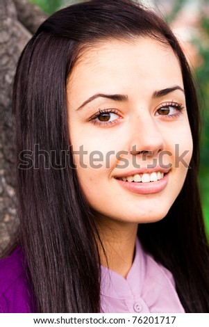 portrait of a beautiful young woman outdoor