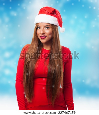 portrait of a beautiful young woman posing at Christmas
