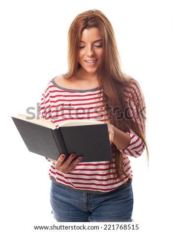 portrait of a beautiful young woman reading a book on a white background - stock photo