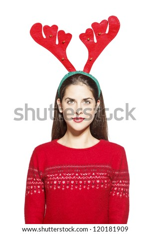 Portrait of a beautiful young woman with Christmas reindeer horns, santa claus. On white background - stock photo