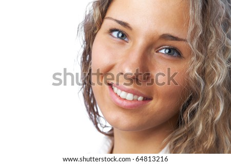 portrait of a beautiful young woman with curly hair - stock photo