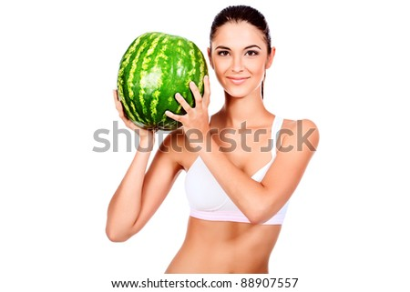 Portrait of a beautiful young woman with watermelon. Isolated over white background.
