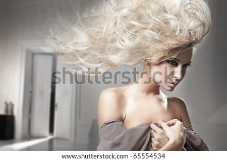 Portrait of a beauty blonde - stock photo