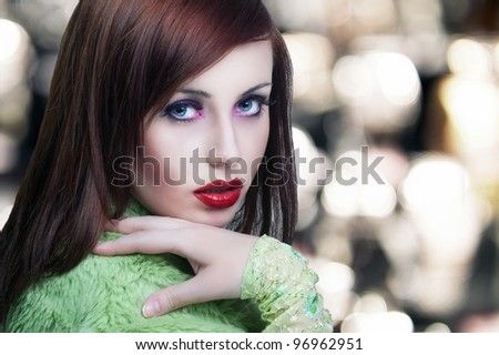 Portrait of a beauty brunette with red lips - stock photo