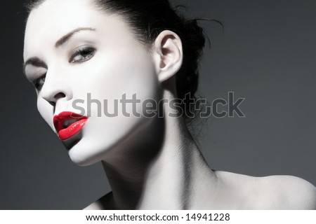 portrait of a beauty  girl with red lips - stock photo
