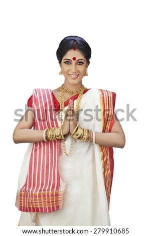 Portrait of a Bengali woman greeting - stock photo