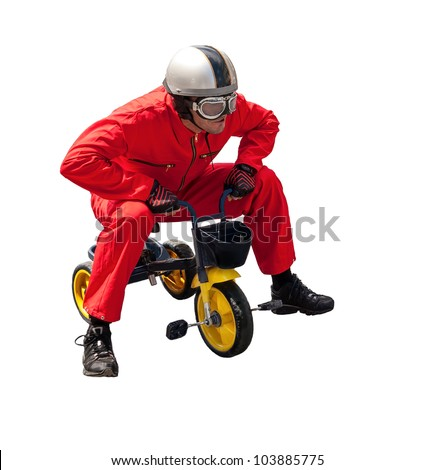 portrait of a bicyclist. Isolated on a white background - stock photo
