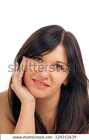 Portrait of a black haired woman / pretty woman - stock photo