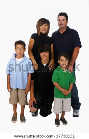 Portrait of a blended Asian-Caucasian family