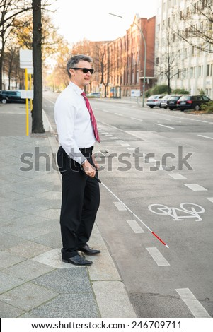 Portrait Of A Blind Mature Man Crossing Road Holding Stick - stock photo