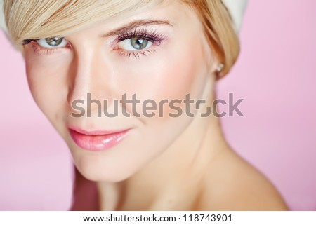 portrait of a blond girl - stock photo