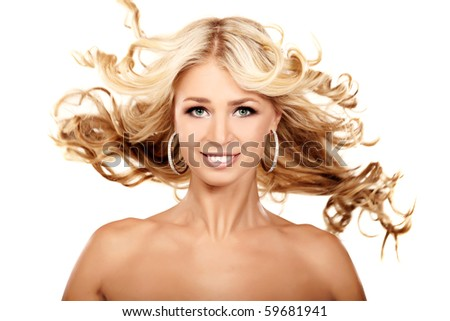 Portrait of a blond lady with a beautiful hair isolated on white - stock photo