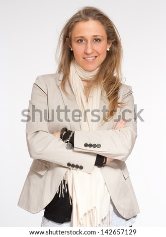 Portrait of a blond young woman - stock photo