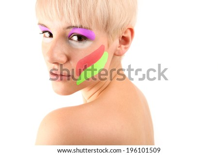 Portrait of a Blonde Girl  isolated on white background - stock photo