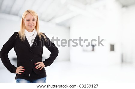 Portrait of a blonde woman - stock photo