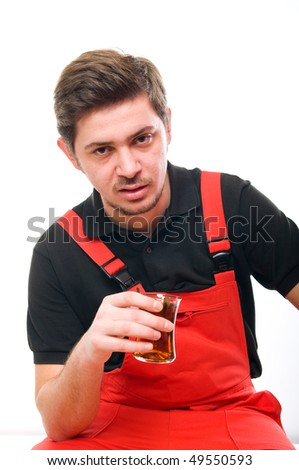 Portrait of a bored construction worker - stock photo