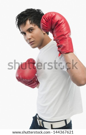Portrait of a boxer in action