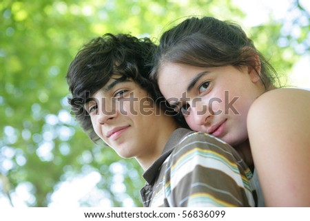 Portrait of a boy and a girl - stock photo