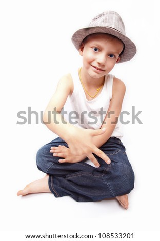 portrait of a boy fashion style - stock photo